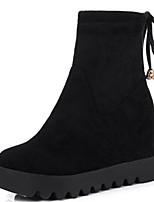 Недорогие -Жен. Fashion Boots Замша Весна & осень Ботинки Микропоры Круглый носок Сапоги до середины икры Черный / Коричневый / Миндальный / Для вечеринки / ужина