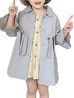 cheap -Kids Girls' Solid Colored Long Sleeve Trench Coat