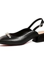 Недорогие -Жен. Комфортная обувь Наппа Leather Весна лето Обувь на каблуках Блочная пятка Белый / Черный