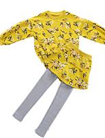 Недорогие -Дети Девочки Цветочный принт Длинный рукав Набор одежды
