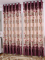 cheap -Blackout Curtains Drapes Living Room Floral 100% Polyester Embossed