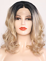 cheap -Synthetic Lace Front Wig Wavy Blonde Middle Part Synthetic Hair 12 inch Adjustable / Heat Resistant Blonde Wig Women's Short Lace Front Black / Gold / Yes