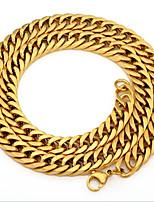 baratos -Homens Fashion / Link cubano Colar - Aço Titânio, Inoxidável Clássico, Europeu, Hip-Hop Dourado 59.7 cm Colar 1pç Para Rua, Bandagem