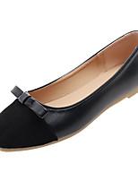 Недорогие -Жен. Полиуретан Осень Удобная обувь На плокой подошве На плоской подошве Квадратный носок Бант Зеленый / Розовый / Миндальный