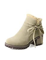 Недорогие -Жен. Обувь Полиуретан Наступила зима Модная обувь Ботинки На толстом каблуке Круглый носок Ботинки Черный / Бежевый / Зеленый