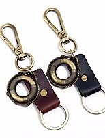 abordables -Porte-clés Noir / Marron Forme Géométrique Cuir, Alliage Ordinaire, Décontracté Pour Plein Air / Bar