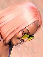 Недорогие -Синтетические кружевные передние парики / Маскарадные парики Прямой Розовый Стрижка боб Искусственные волосы 12-16 дюймовый Жаропрочная / Женский / Боб с прямым пробором Розовый Парик Жен. Короткие