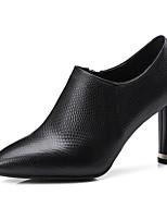 Недорогие -Жен. Наппа Leather Весна & осень Удобная обувь / Туфли лодочки Обувь на каблуках На толстом каблуке Черный / Хаки