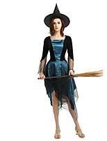 Недорогие -ведьма Жен. Взрослые Хэллоуин Хэллоуин Карнавал Маскарад Фестиваль / праздник Костюмы на Хэллоуин Инвентарь Чернильный синий Однотонный Halloween