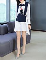 Недорогие -Жен. Классический Рубашка Платье Пайетки / Пэчворк / С принтом Ассиметричное Синий и белый