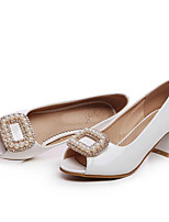 Недорогие -Жен. Полиуретан Весна Удобная обувь Обувь на каблуках На толстом каблуке Белый / Синий / Розовый