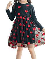 Недорогие -Дети Девочки Черный и красный Пэчворк / С сердцем Длинный рукав Платье