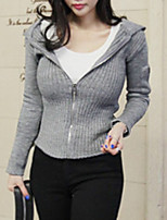 cheap -women's long sleeve cardigan - solid colored hooded