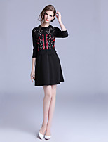 cheap -Women's Elegant A Line Dress Embroidered