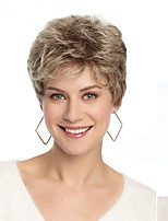cheap -Synthetic Wig Straight Blonde Short Bob Synthetic Hair 6 inch Women / With Bangs Blonde Wig Women's Short Capless / Yes