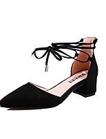 abordables -Femme Strappy Stacked Heels Matière synthétique Eté Minimalisme Chaussures à Talons Talon Bottier Bout pointu Noir / Rouge / Rose dragée clair