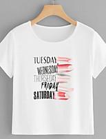 billiga -Enfärgad Bomull T-shirt Dam