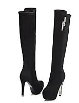 Недорогие -Жен. Fashion Boots Полиуретан Весна / Лето Ботинки На шпильке Сапоги до колена Коричневый / Красный / Миндальный