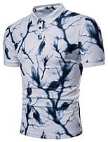 cheap -Men's Basic Polo - Color Block Blue & White, Print