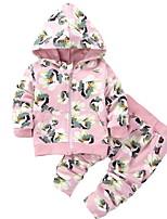Недорогие -Дети / Дети (1-4 лет) Девочки Цветочный принт Длинный рукав Набор одежды