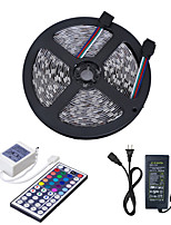 cheap -HKV 5m Light Sets 300 LEDs 5050 SMD 1 44Keys Remote Controller / 1 X 5A power adapter RGB Cuttable / Linkable / Self-adhesive 12 V