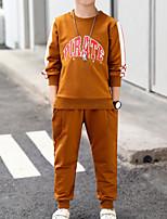 Недорогие -Дети Мальчики Классический Спорт Однотонный / Контрастных цветов Длинный рукав Хлопок Набор одежды