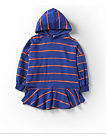cheap -Kids Girls' Sweet Striped Ruffle Long Sleeve Knee-length Dress / Cotton