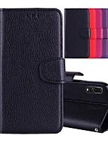 baratos -Capinha Para Huawei P20 Pro / P20 lite Porta-Cartão / Com Suporte / Flip Capa Proteção Completa Sólido Rígida PU Leather para Huawei P20 / Huawei P20 Pro / Huawei P20 lite