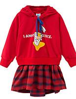 Недорогие -Дети Девочки Симпатичные Стиль Контрастных цветов Длинный рукав Платье