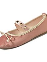 Недорогие -Жен. Комфортная обувь Полиуретан Осень Минимализм На плокой подошве На плоской подошве Бант Розовый / Миндальный