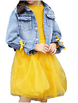 cheap -Kids Girls' Solid Colored / Patchwork Long Sleeve Clothing Set