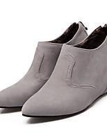 baratos -Mulheres Sapatos Camurça Outono & inverno Conforto / Curta / Ankle Botas Salto Plataforma Preto / Cinzento