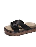 Недорогие -Жен. Обувь Шёлк Лето Удобная обувь Тапочки и Шлепанцы Микропоры Черный / Зеленый