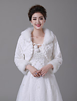 cheap -Long Sleeve Faux Fur Wedding / Party / Evening Women's Wrap With Lace-up Shrugs