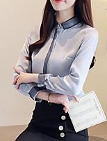 Недорогие -Жен. Блуза Рубашечный воротник Контрастных цветов / Осень