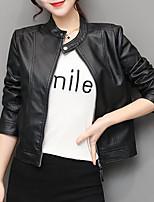 Недорогие -Жен. Кожаные куртки Уличный стиль / Изысканный - Однотонный