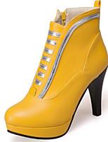 Недорогие -Жен. Обувь Замша / Полиуретан Наступила зима Ботильоны Ботинки На толстом каблуке Круглый носок Ботинки Белый / Черный / Желтый / Для вечеринки / ужина