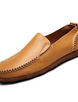Недорогие -Муж. Кожа Осень Удобная обувь Мокасины и Свитер Желтый / Коричневый / Синий