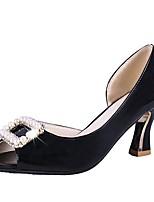 Недорогие -Жен. Полиуретан Лето Туфли лодочки Обувь на каблуках На клиновидном каблуке Черный / Серый