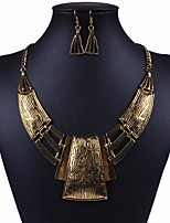 cheap -Women's Hoop Earrings Statement Necklace Hollow Out Cuban Link Statement Ladies Rustic / Lodge Geometric African Earrings Jewelry Gold / Silver For Carnival Club
