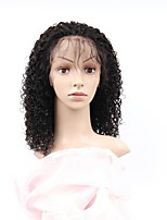 cheap -Remy Human Hair Full Lace Wig Brazilian Hair Afro Curly Wig Asymmetrical Haircut 130% Women / Easy dressing / Sexy Lady Black Women's 8-14 Human Hair Lace Wig