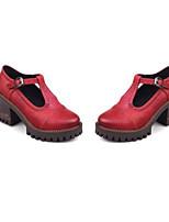 Недорогие -Жен. Обувь Полиуретан Весна Удобная обувь Обувь на каблуках На низком каблуке Черный / Красный / Темно-русый