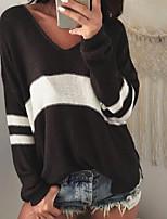 Недорогие -Жен. Хлопок Длинный рукав Пуловер - Однотонный V-образный вырез