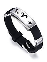 cheap -Men's Stylish / Zodiac Wide Bangle - Titanium Steel Star, Aries Stylish, Classic, Casual / Sporty Bracelet Silver For Birthday / Going out