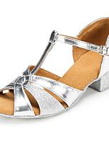 preiswerte -Mädchen Schuhe für den lateinamerikanischen Tanz PU Absätze Starke Ferse Tanzschuhe Gold / Silber