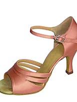 baratos -Mulheres Sapatos de Dança Latina Cetim Sandália / Salto Salto Carretel Personalizável Sapatos de Dança Marron / Preto / Branco / Nú