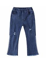 baratos -Infantil Para Meninas Básico Sólido Jeans