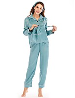 cheap -Women's Deep V Satin & Silk / Suits Pajamas Solid Colored
