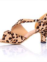 cheap -Women's Samba Shoes Satin Sneaker Cuban Heel Dance Shoes Leopard