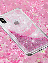 baratos -Capinha Para Apple iPhone X / iPhone 8 Plus Liquido Flutuante / Transparente / Estampada Capa traseira Lace Impressão Macia TPU para iPhone X / iPhone 8 Plus / iPhone 8